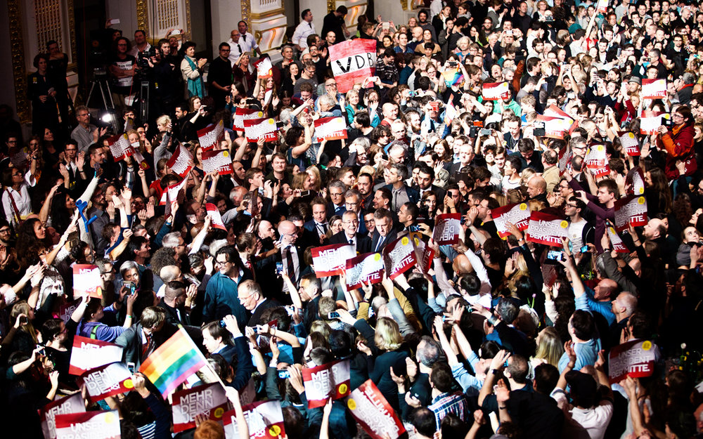 GALLERY. PRESIDENTIAL ELECTIONS 2016  I got commissioned to take photos for the team of Presidential candidate Dr. Alexander Van der Bellen at a handful of key events in his campaign. It was the longest Presidential race in history, before this photograph of Van der Bellen celebrating his victory amidst enthusiastic supporters at the Sophiensäle in Vienna.  ➝