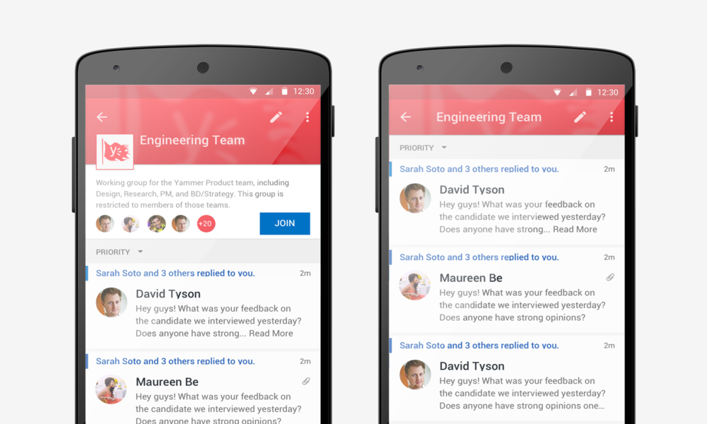 Teams on Mobile: group view on Android device