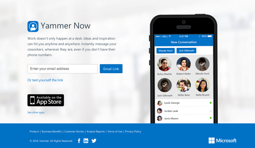 Yammer Now: description in the App Store