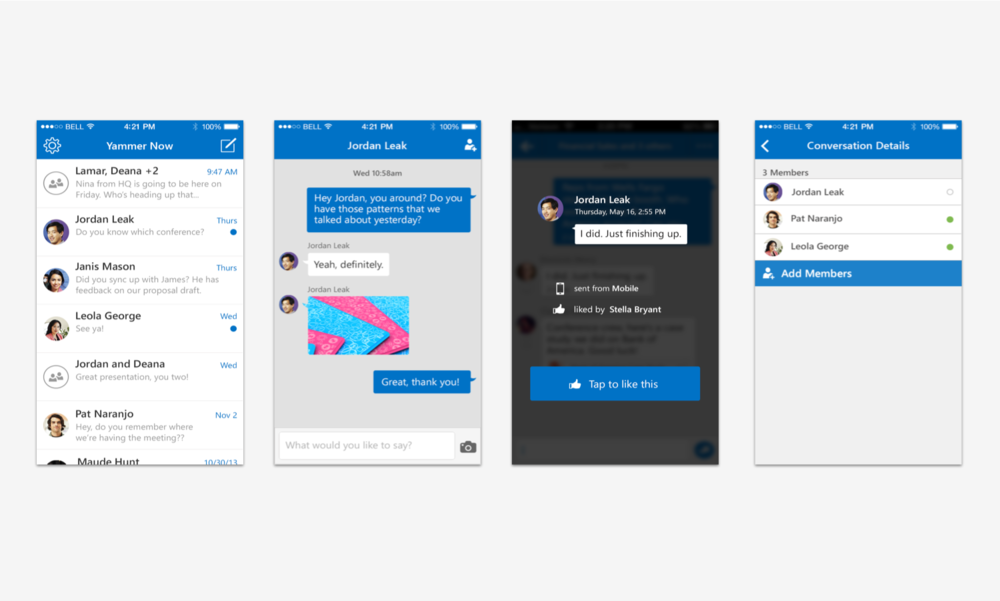 Yammer Now: interaction flow