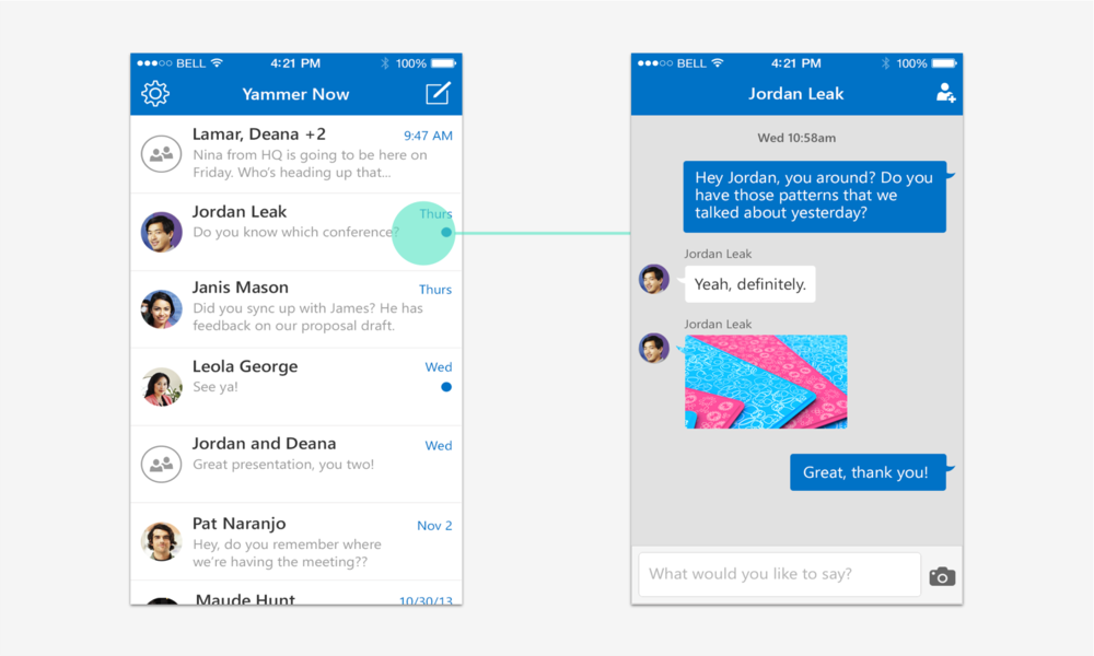 Yammer Now: interaction flow detail