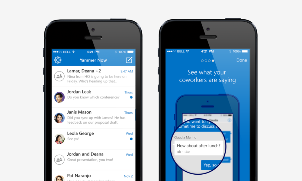 Yammer Now: education screen and mainview