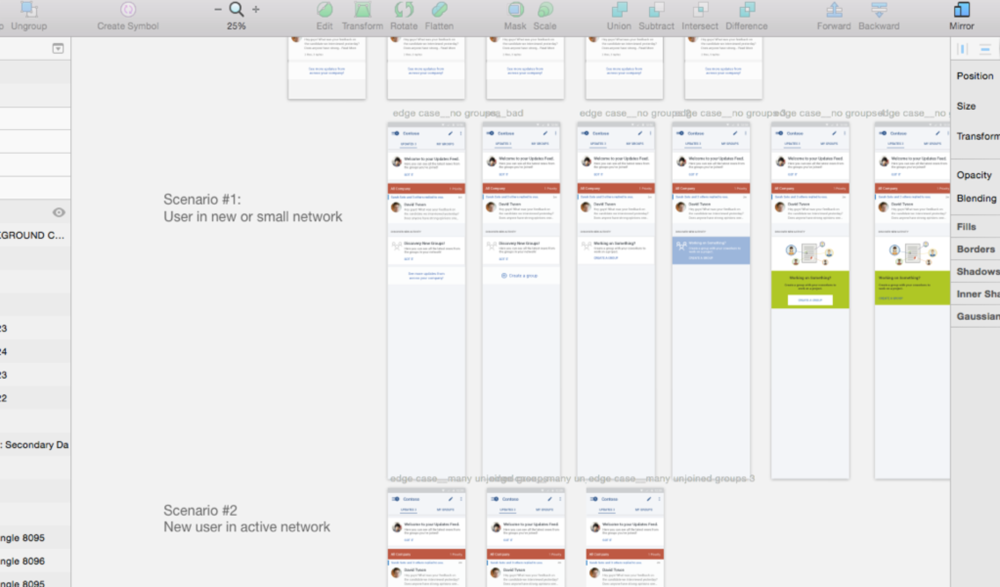 Screenshot of Sketch UI scenarios
