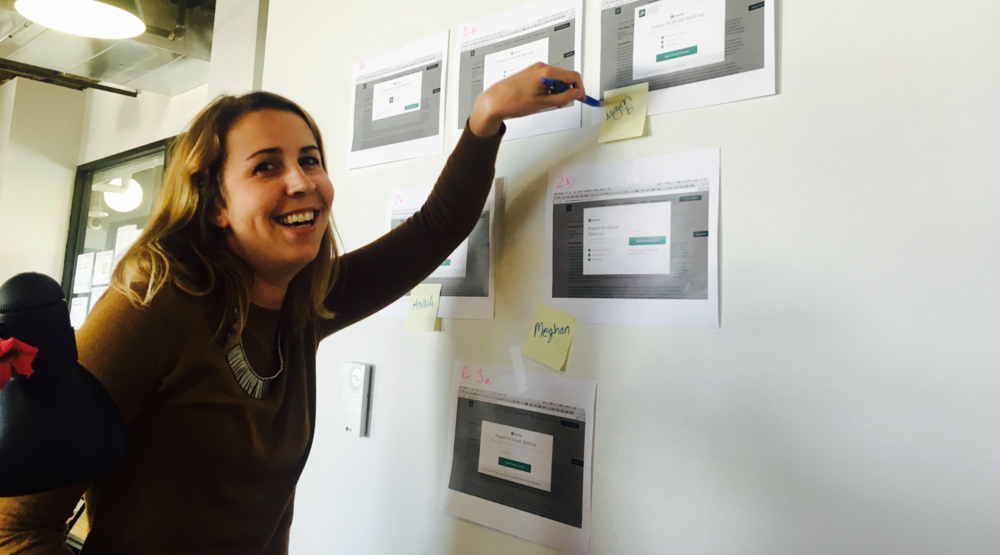 Megan, our company training guru, staking her claim in A/B Testing Bingo