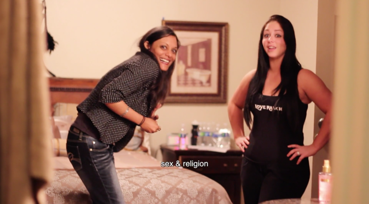 Our director, Moushumi Ghose (left) hanging at The Love Ranch with Vanessa London.