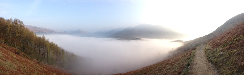 Early Inversion on an early morning run down Loughrigg Terrace...