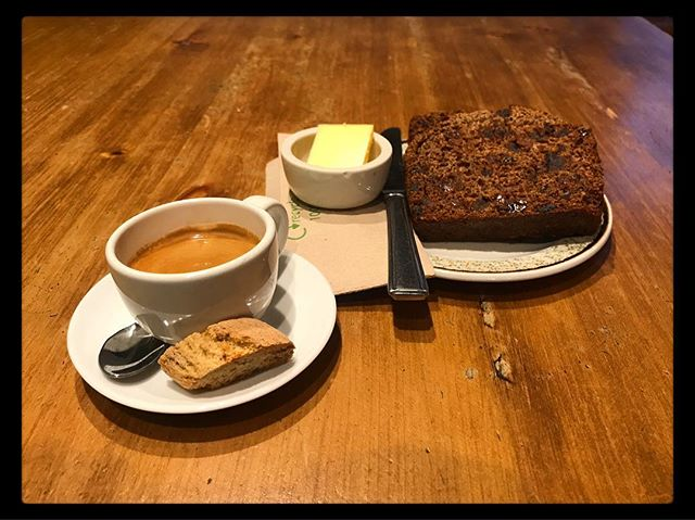 A Monday morning must! Double espresso from the lovely @redbankcoffee and a delicious piece of Borrowdale tealoaf served with butter Start your Monday right! #mondayvibes . . . . . . . #espresso #redbankroasters #baking #homemade #tealoaf #borrowdaletealoaf #cafe #rattleghyll #rattleghyllcafe #ambleside #lakedistrict #cumbria