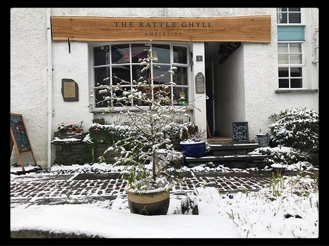 If you've been out frolicking in the snow, come down and warm up with bowl of soup, a hot chocolate and a slice of cake  #snowday . . . . . . . . #snow #winter #cafe #fun #rattleghyll #rattleghylcafe #ambleside #lakedistrict #cumbria