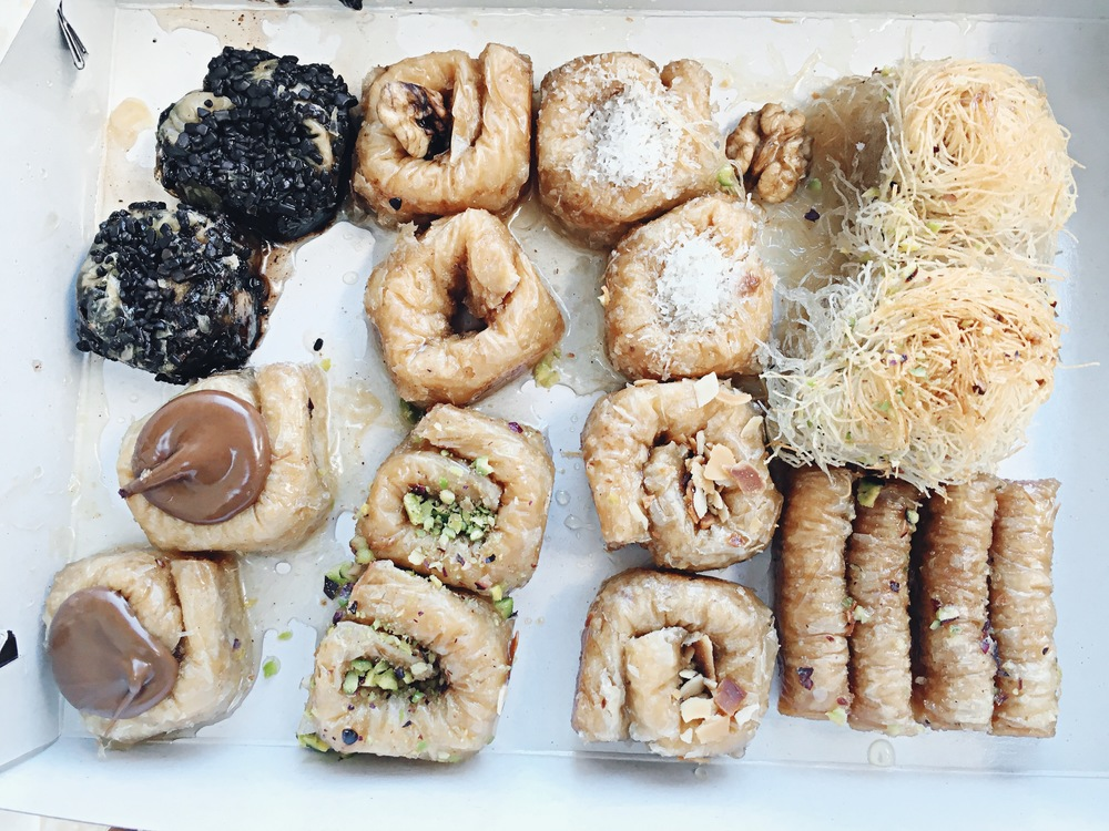 This bakery is the best of both worlds: 1. adorable 2. delicious.     My absolute favorite Greek dessert is Kataifi, basically it's very similar to Baklava but covered in shredded wheat. I picked up some additional small pastries with different fillings, and they were all amazing!