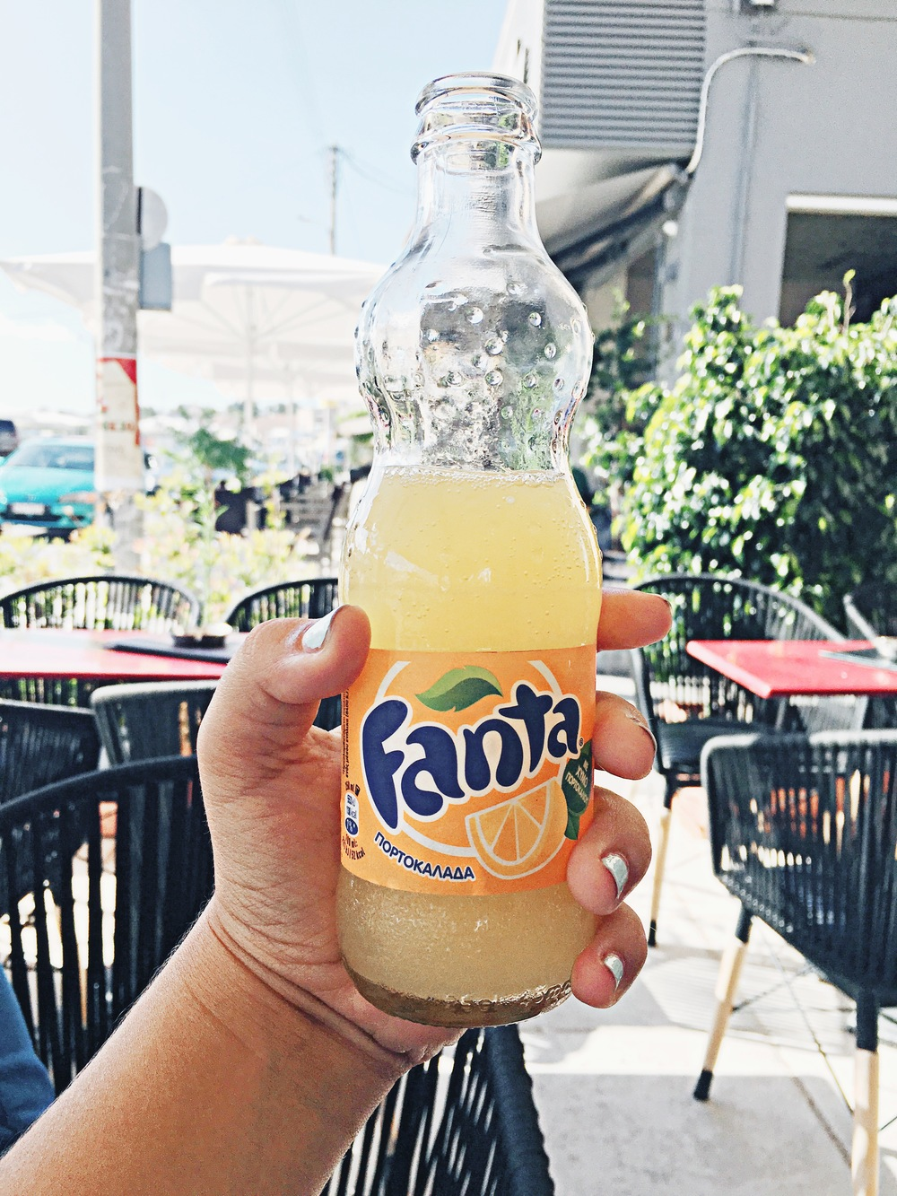 "Not even kidding, the Fanta is amazing in Greece. It's more like Orangina, but even lighter and fresher. It doesn't taste artificial, and they even translate it as ""orange juice""!"