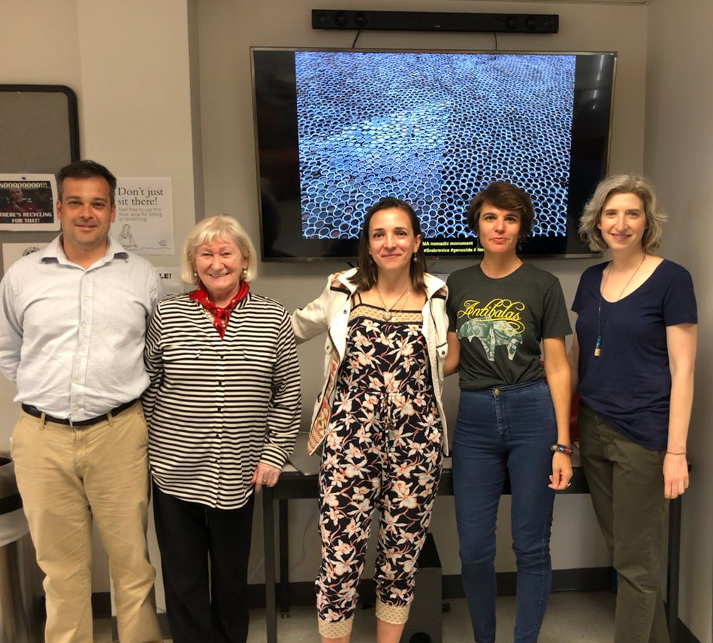 Aida Šehović (center) with Dr. Marc Landry, Ann Koss Edwards,  Dr. Ana Croegaert, and curator Lauren Ross (left to right) at the University of New Orleans on February 23, 2018.