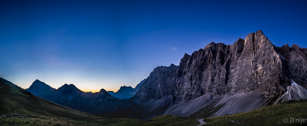 Took this panorama shot just before sunrise from the hut - 4 images stitched in Lightroom CC. Taken with the Samyang 14mm lens.