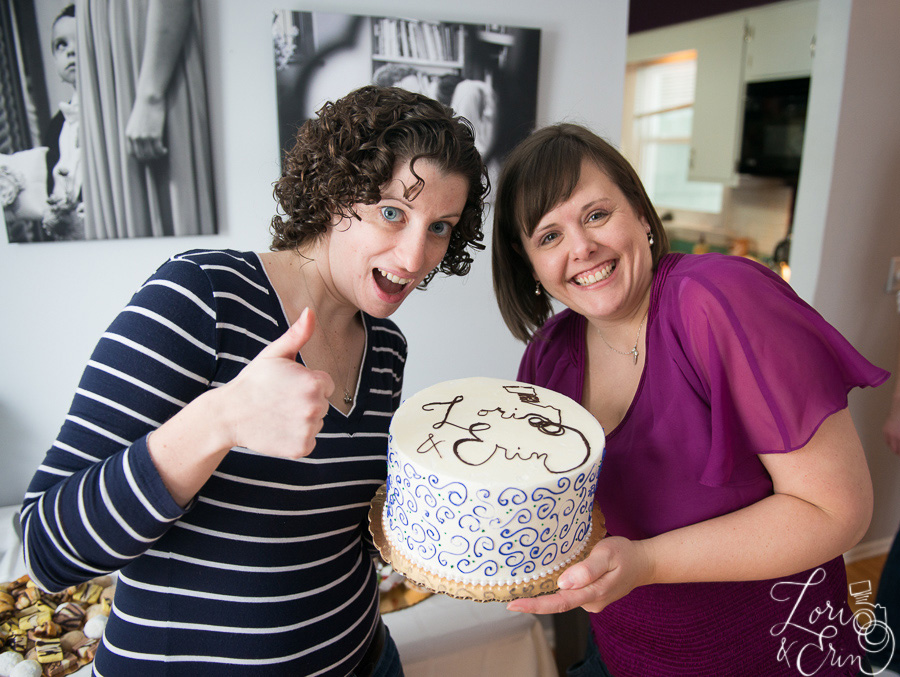 lori and erin with cake