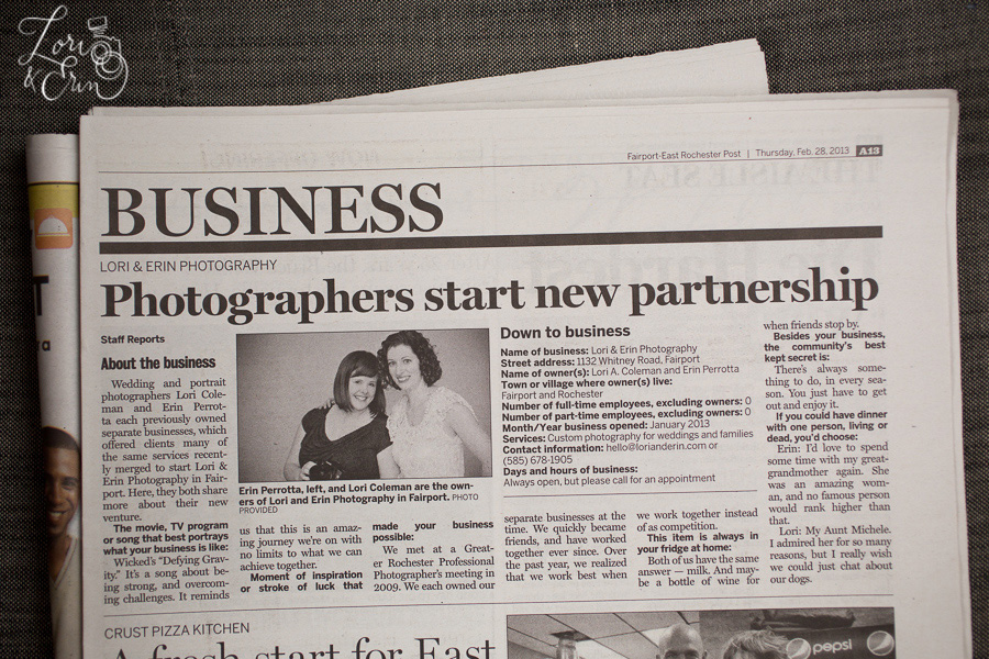 fairport- east rochester post, lori and erin photography article