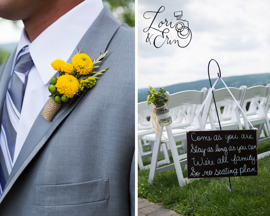 boutonniere and wedding ceremony sign