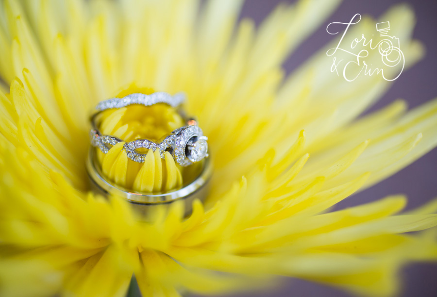 wedding rings in yellow flower