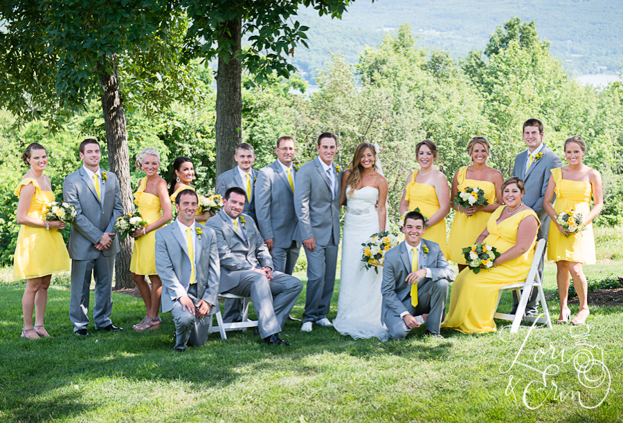yellow and gray bridal party