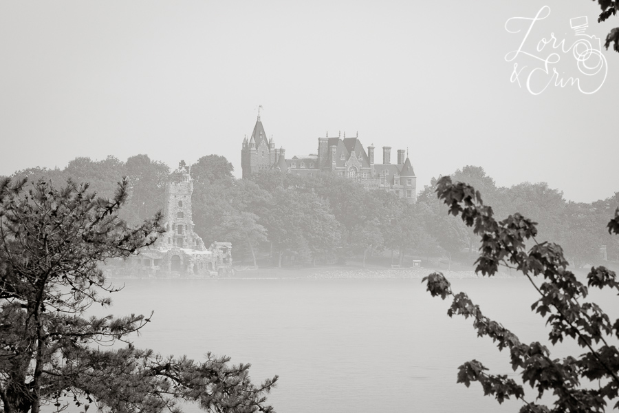 Boldt Castle in black and white