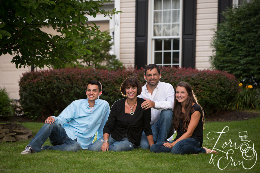 family portrait on the front lawn