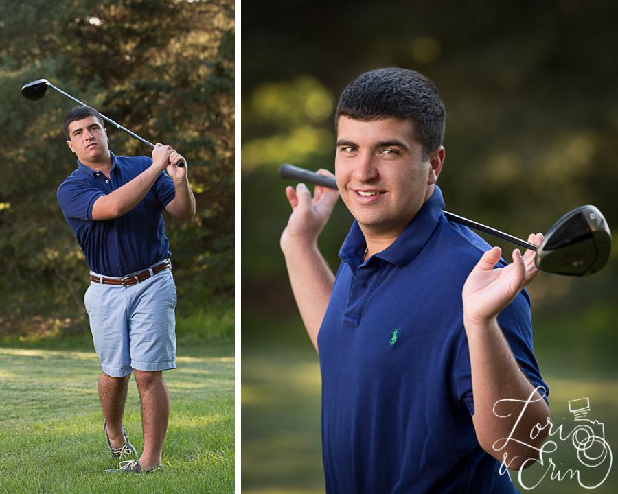 senior boy golfing