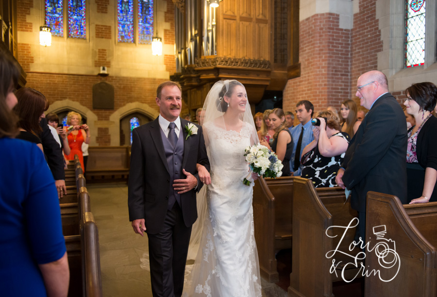 Colgate Divinity School Wedding Photography, Rochester NY Wedding Photography, Bride coming down aisle