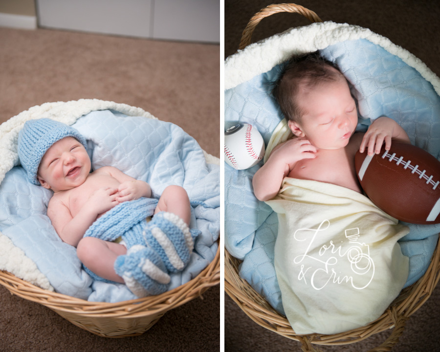Rochester new york newborn photography, football and baseball with baby