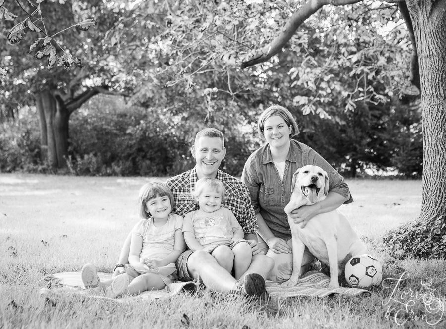 family portrait with dog bw
