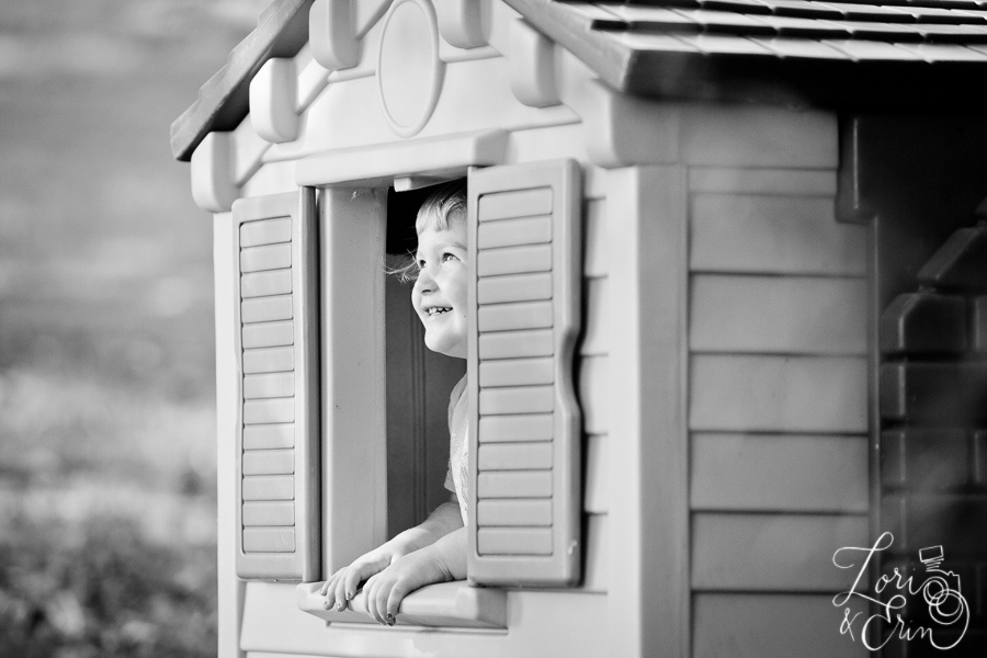 peeking out of the play house