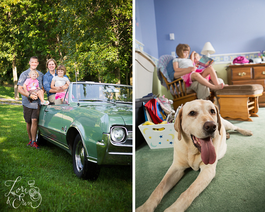 family with car and dog
