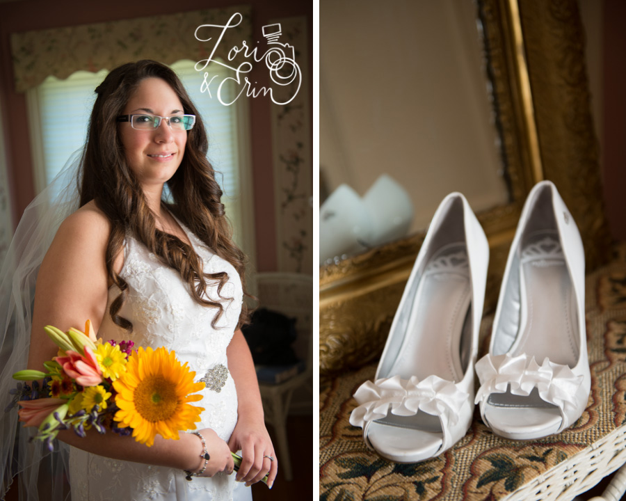 Edward Harris House wedding, shoes, Bride with sunflowers, Rochester NY Weddings