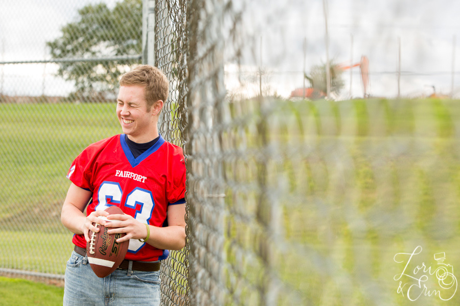 laughing football senior