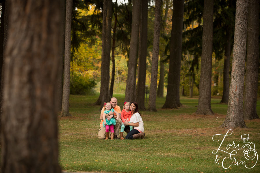 family portrait among trees
