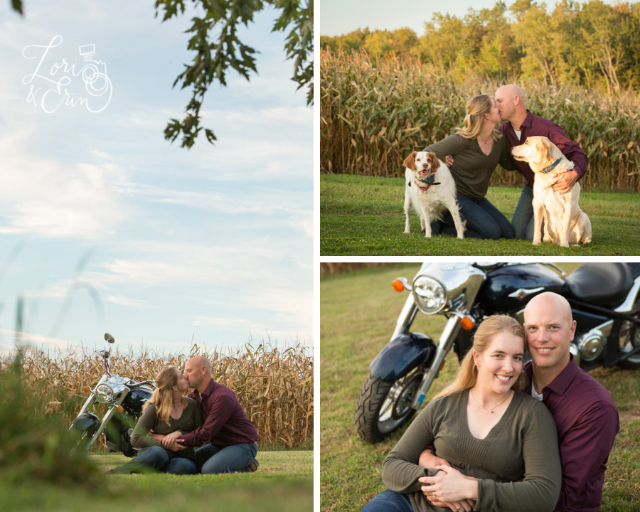 farm engagement session, waterloo ny, motorcycle