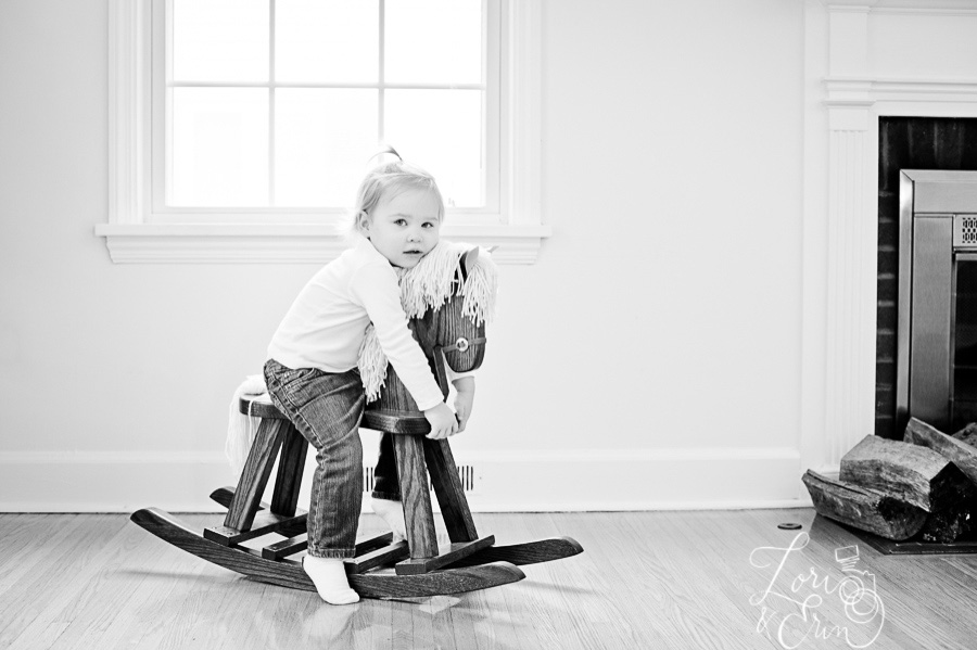 girl bw on rocking horse