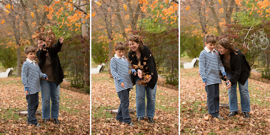 throwing leaves mother and son