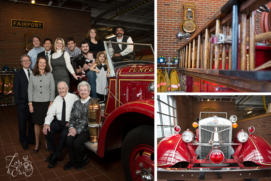 antique fire truck with family