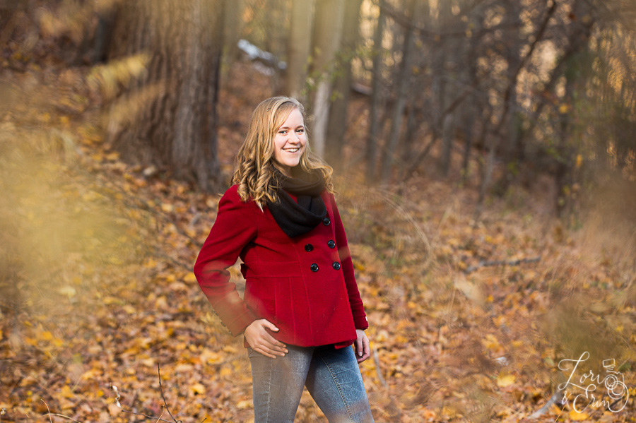 red jacket in woods