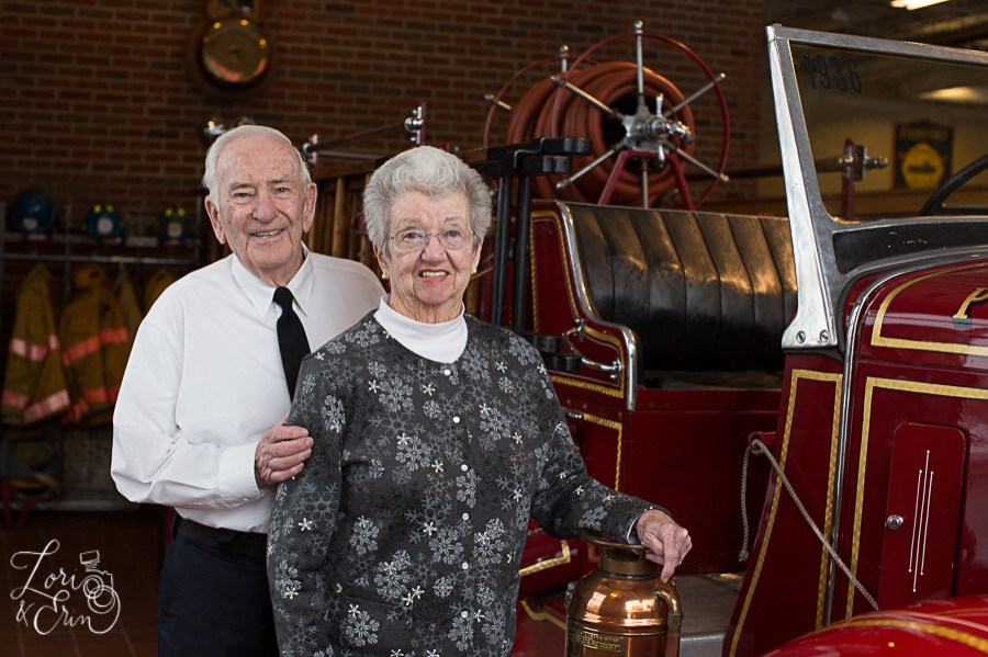 grandparents with fire truck