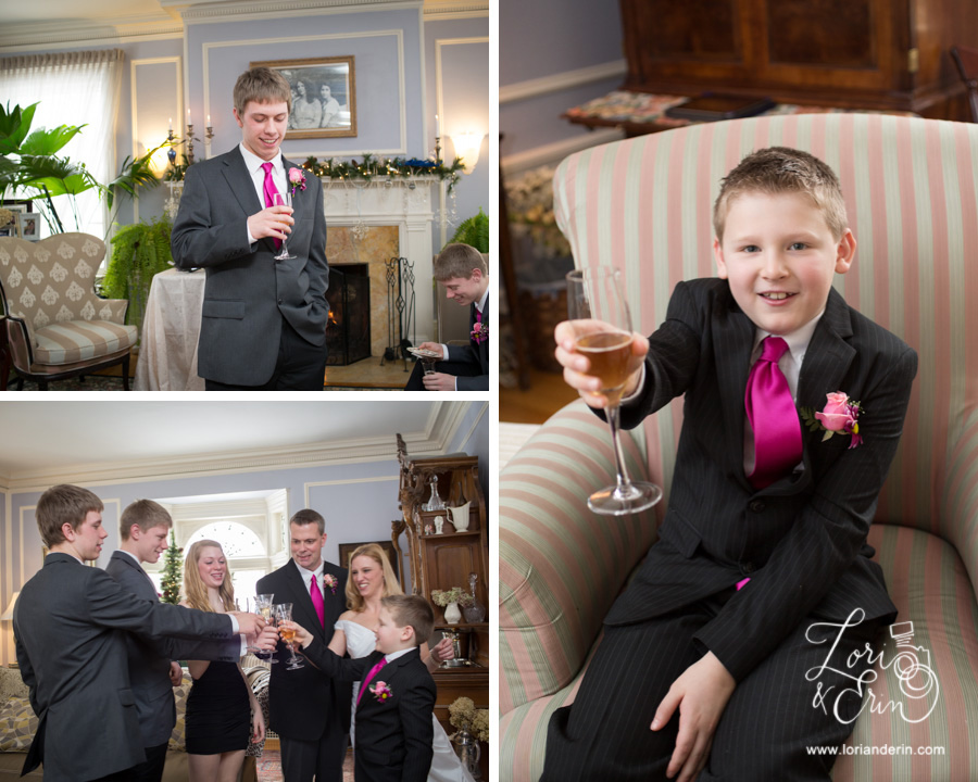 Edward Harris House Wedding, Winter indoor wedding, toasting