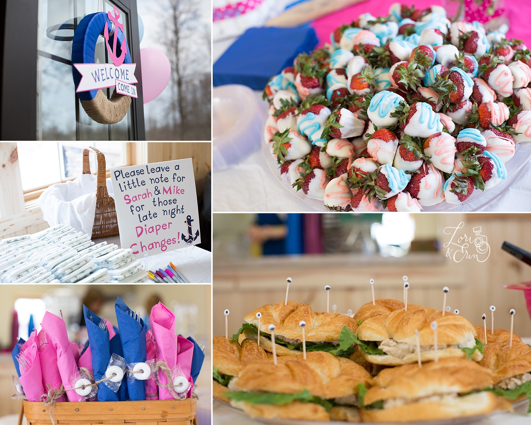 Baby Shower Rochester NY photography, pink and blue nautical theme