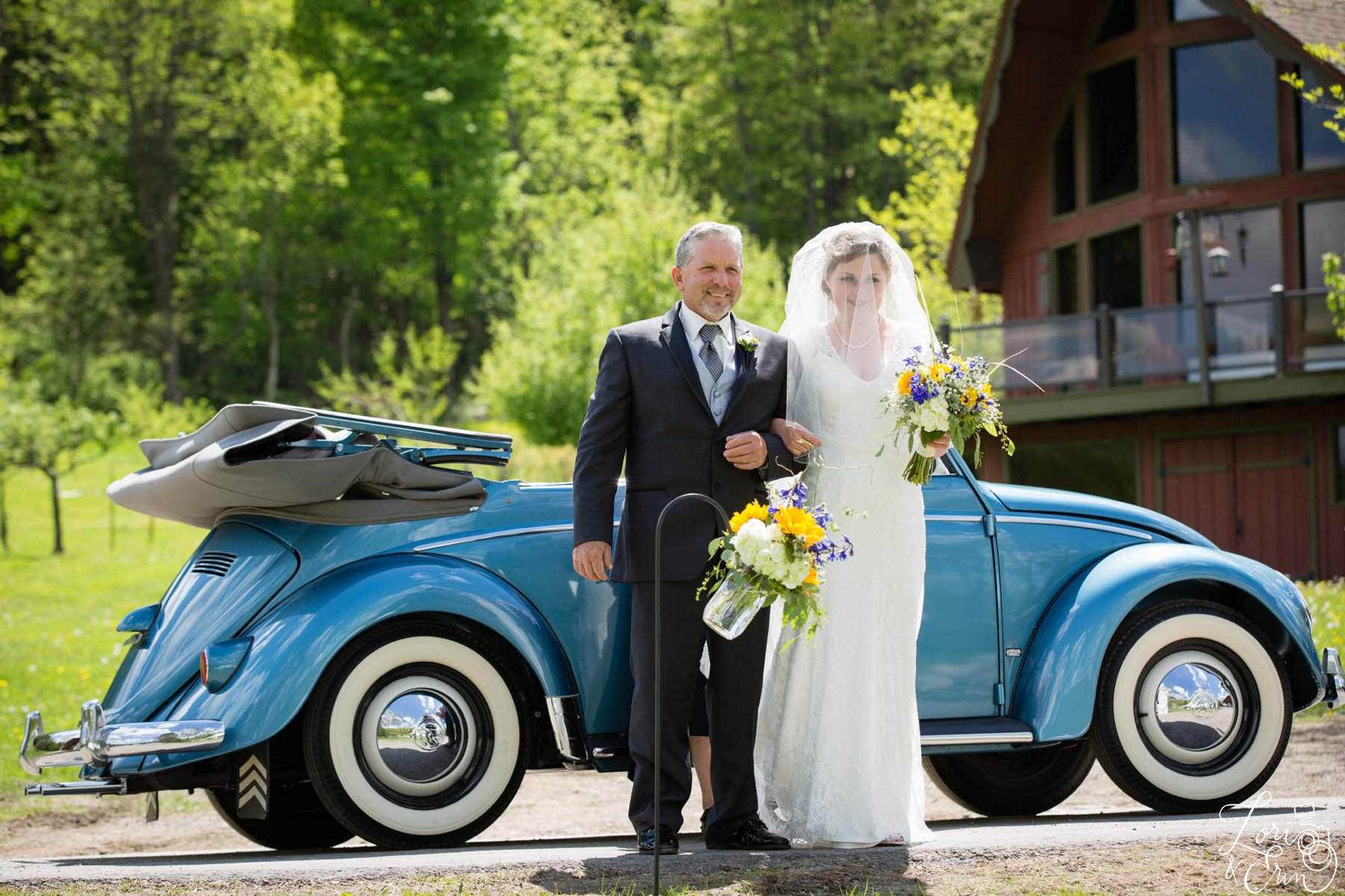bride and father with old car