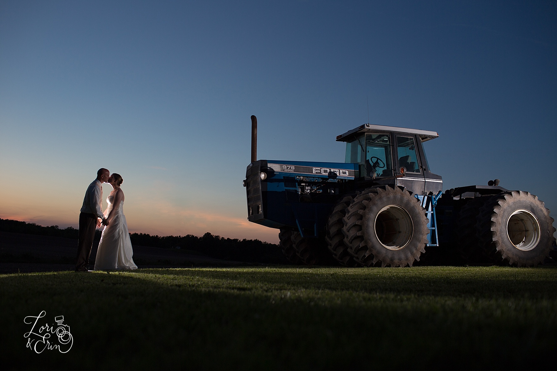 barn weddings rochester ny, tractor with bride and groom