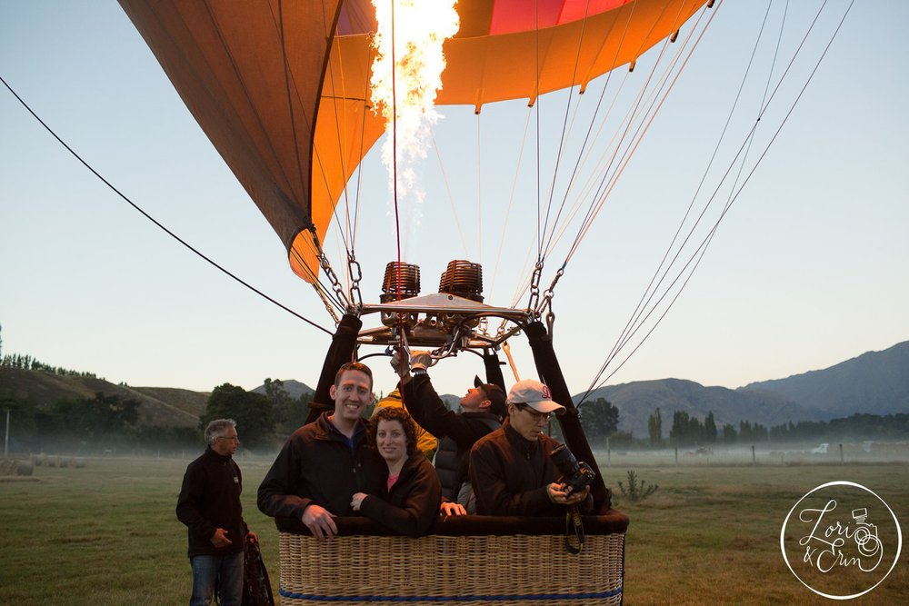This was our anniversary gift: A hot air balloon ride over Queenstown, NZ!