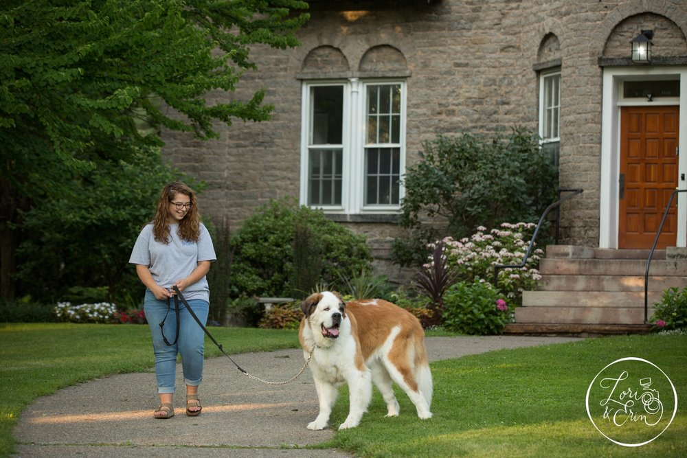 Rush Henrietta Senior Portraits with dog in Highland Park, Rochester, NY