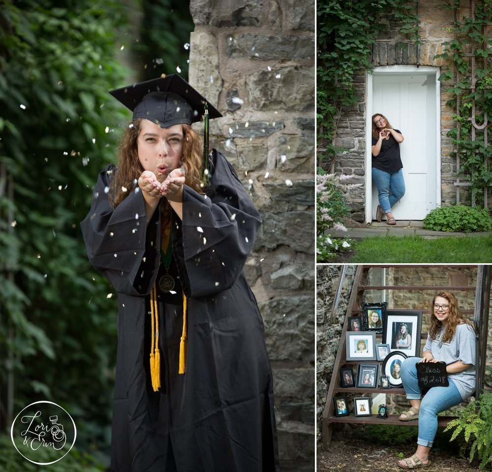 Rush Henrietta Senior Portraits in cap and gown in Highland Park, Rochester, NY