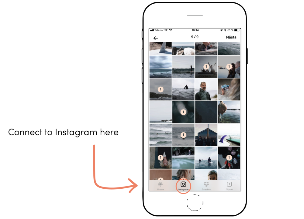 Simply connect to your Instagram in our app and you can choose directly from it when creating.
