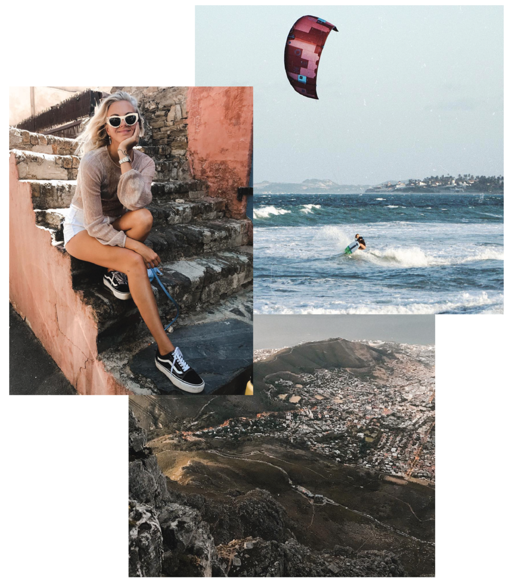 From left: Stylish in Cape Town, a kite surfing session in sunny Brazil and a mind blowing trekk to the Table Top Mountain, Cape Town.