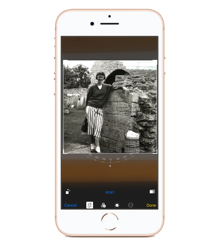 Crop - Open up your iPhones built in editor and crop it as you prefer it to look like in print.