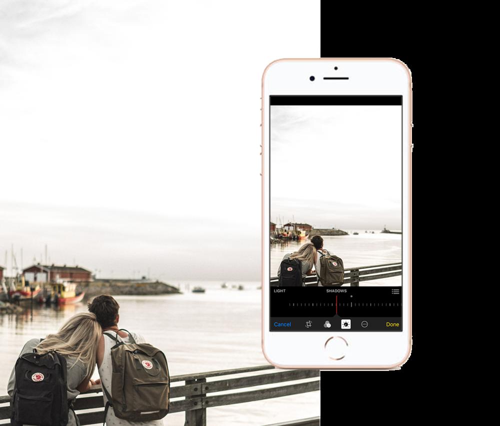 När du redigerar : Öka exponeringen, mätta bilden något och avsluta med att öka skuggorna försiktigt för att få en skarpt och kontrastrik men samtidigt mjuk och ljus bild.
