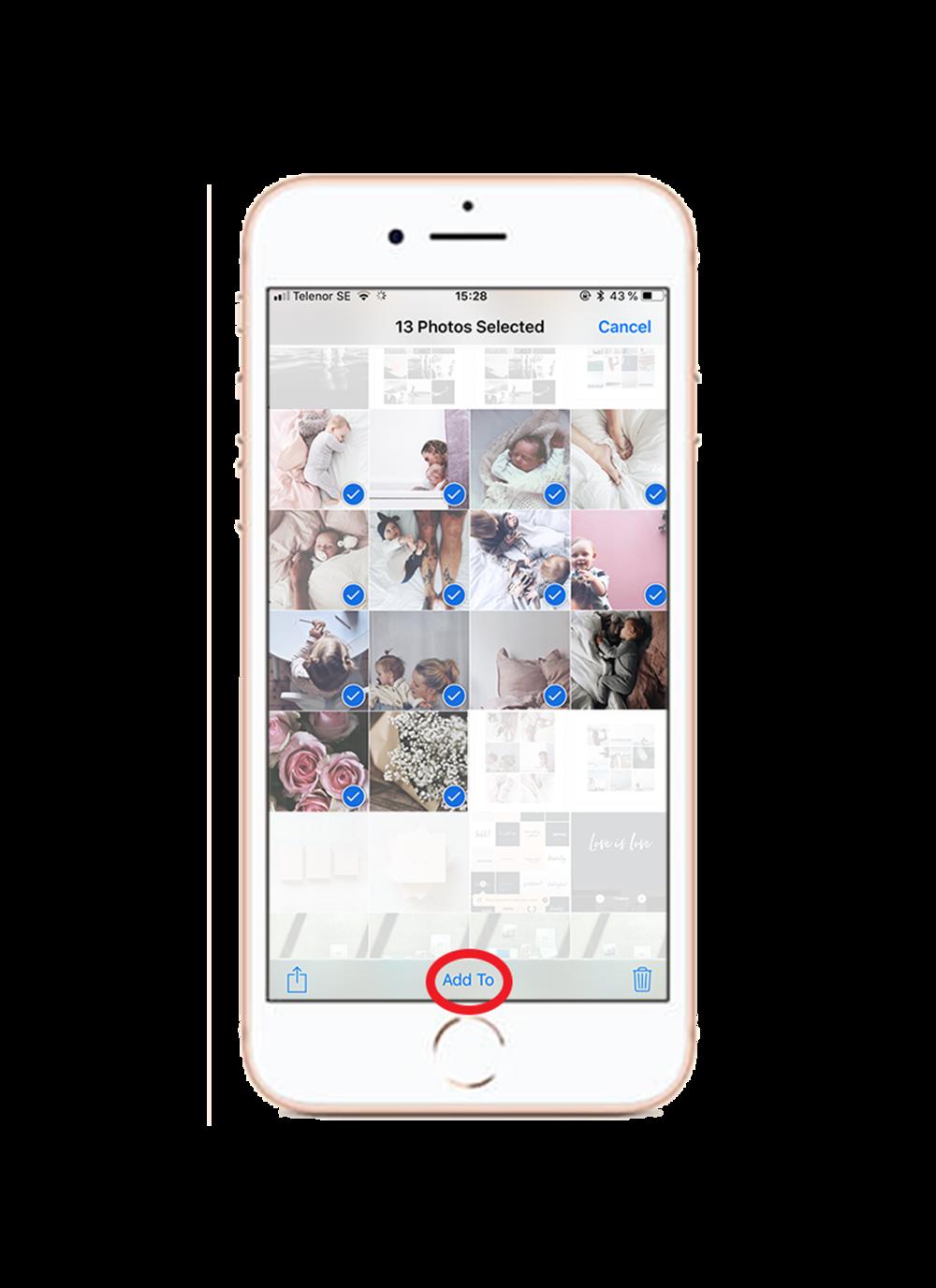 1. Välj dina bilder - Markera de bilder du vill ska vara med i ditt album och tryck på